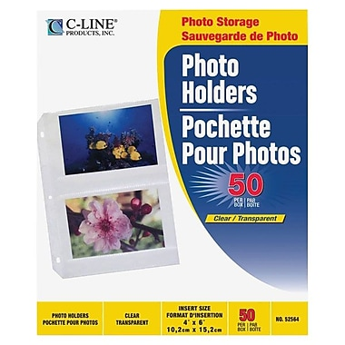 C-Line® Traditional 3-Ring Binding Polypropylene Photo Holders, Clear, 50/Box