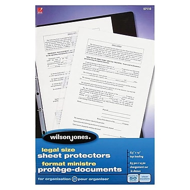 Wilson JonesMD – Protège-documents format ministre, transparents, 50 par boîte
