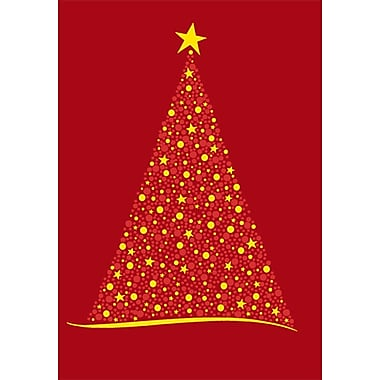 Sunrise Red Glitter Christmas Tree Holiday Boxed Cards