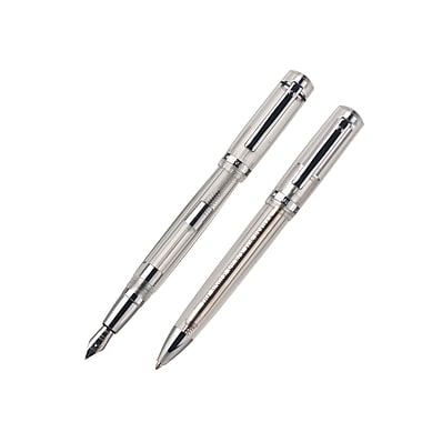 Monteverde® Artista Crystal Ballpoint and Fountain Pen Set, Clear, 2/Pack