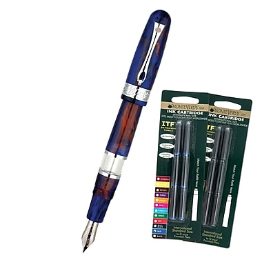 Monteverde® Napa Fountain Pen W/6 Black and 6 Blue Refills, Blue