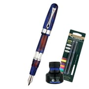 Monteverde® Napa Fountain Pen W/6 Blue Refills and 1 Blue Ink Bottle, Blue