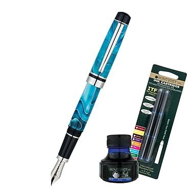 Monteverde® Prima Fountain Pen W/6 Blue Refills and 1 Blue Ink Bottle, Turquoise Swirl