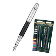 Monteverde® Invincia™ Fountain Pen W/6 Black and Blue Refills, Chrome