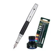 Monteverde® Invincia™ Fountain Pen W/6 Blue Refills and 1 Blue Ink Bottle, Chrome