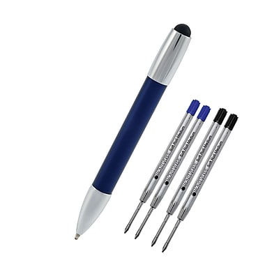 Monteverde® M-1 Stylus Ballpoint Pen W/2 Black and 2 Blue Refills, Midnight Blue