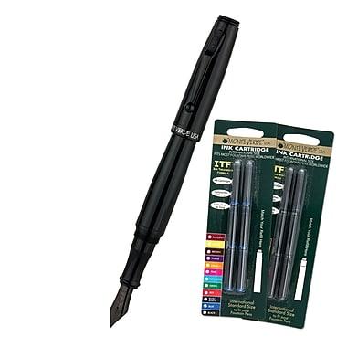 Monteverde® Invincia™ Color Fusion Fountain Pen W/6 Black and 6 Blue Refills, Stealth Black