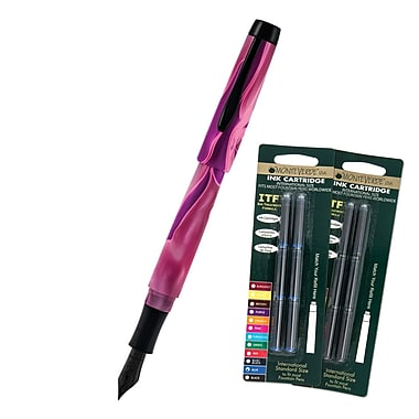 Monteverde® Intima Fountain Pen W/6 Black and 6 Blue Refills, Neon Pink