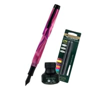 Monteverde® Intima Fountain Pen W/6 Black Refills and 1 Black Ink Bottle, Neon Pink