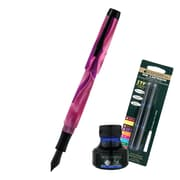 Monteverde® Intima Fountain Pen W/6 Black Refills and 1 Blue Ink Bottle, Neon Pink