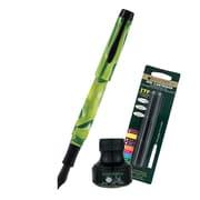 Monteverde® Intima Fountain Pen W/6 Black Refills and 1 Black Ink Bottle, Neon Green
