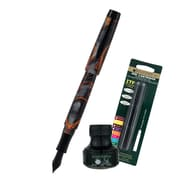 Monteverde® Intima Fountain Pen W/6 Black Refills and 1 Black Ink Bottle, Volcano Gray