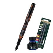 Monteverde® Intima Fountain Pen W/6 Blue Refills and 1 Blue Ink Bottle, Volcano Gray