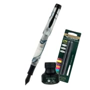 Monteverde® Intima Fountain Pen W/6 Black Refills and 1 Black Ink Bottle, Glacier Blue