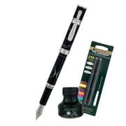 Monteverde® Jewelria Round Fountain Pen W/6 Black Refills and 1 Black Ink Bottle, Black
