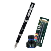 Monteverde® Jewelria Round Fountain Pen W/6 Blue Refills and 1 Blue Ink Bottle, Black