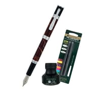 Monteverde® Jewelria Round Fountain Pen W/6 Black Refills and 1 Black Ink Bottle, Brown