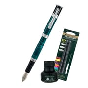 Monteverde® Jewelria Round Fountain Pen W/6 Black Refills and 1 Black Ink Bottle, Green