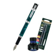 Monteverde® Jewelria Round Fountain Pen W/6 Blue Refills and 1 Blue Ink Bottle, Green