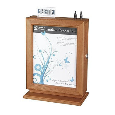 Safco® Customizable Wood Suggestion Box, Cherry, 10-1/2