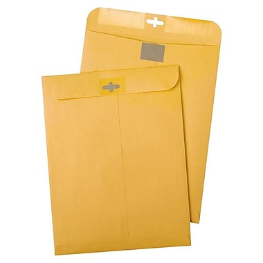 Quality Park® Clear Clasp Envelopes, Brown, 28 lb., 100/Box