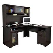 Bush® Cabot Collection L-Desk and Hutch, Espresso Oak