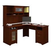 Bush® Cabot Collection L-Desk and Hutch, Harvest Cherry