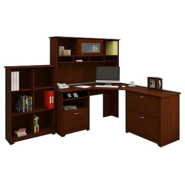 Bush® Cabot Collection Corner Desk, Hutch, Lateral File and Bookcase, Harvest Cherry