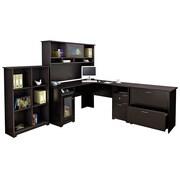 Bush® Cabot Collection L-Desk, Hutch, Bookcase and Lateral File, Espresso Oak