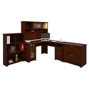Bush® Cabot Collection L-Desk, Hutch, Bookcase and Lateral File, Harvest Cherry