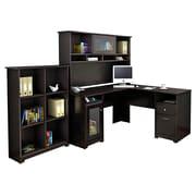 Bush® Cabot Collection L-Desk, Hutch and Bookcase, Espresso Oak