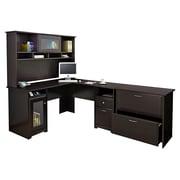 Bush® Cabot Collection L-Desk, Hutch and Lateral File, Espresso Oak