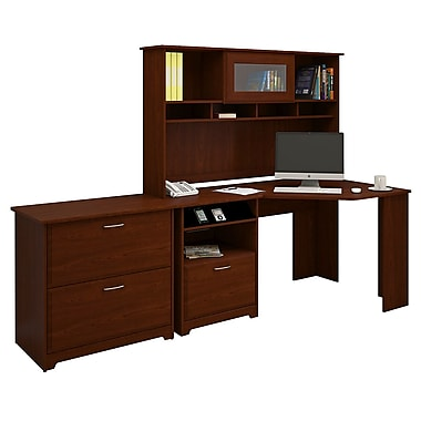 Bush® Cabot Collection Corner Desk, Hutch and Lateral File, Harvest Cherry