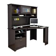 Bush® Cabot Collection Corner Desk and Hutch, Espresso Oak