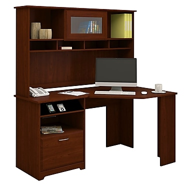 Bush® Cabot Collection Corner Desk and Hutch, Harvest Cherry