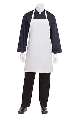 Chef Works Bib Kitchen Apron Without Pouch Pockets White