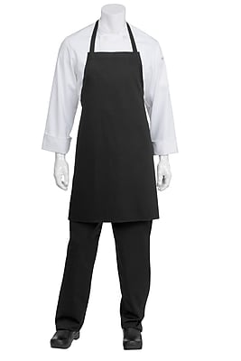 Chef Works Bib Chef Apron Without Pouch Pockets Black