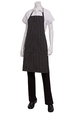 Chef Works Bib Chalk Striped Chef Apron With 2 Roomy Pockets Black