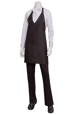 Chef Works V Neck Tuxedo Apron With Center Divided Patch Pockets Black