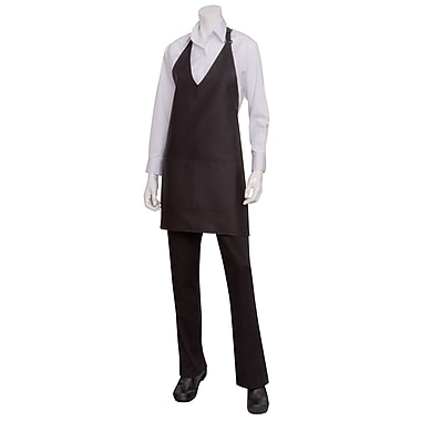Chef Works® V-Neck Tuxedo Apron With Center-Divided Patch Pockets, Black