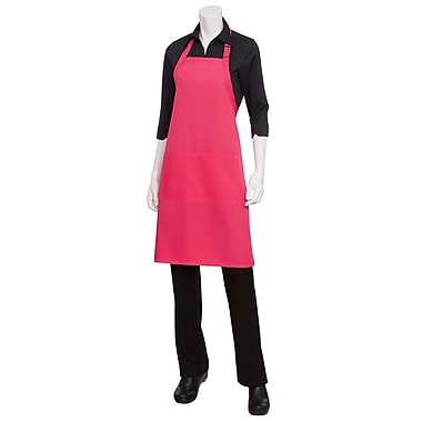 Chef Works® Butcher Apron With 2 Divided Patch Pocket, Berry