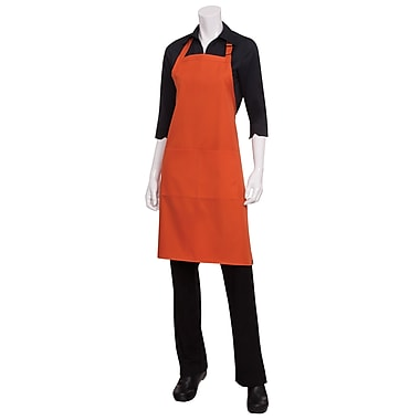 Chef Works® Butcher Apron With 2 Divided Patch Pocket, Orange