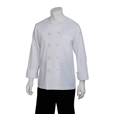 Chef Works® Le Mans Long Sleeve Basic Chef Coat, White, XS