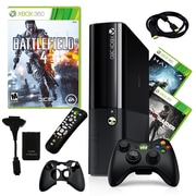 Microsoft® Xbox 360 E 250GB Bundle W/ 3 Games and Accessories, Battlefield, TombRaider and Halo