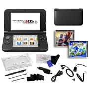 Nintendo® 3DSXL W/ The Amazing Spiderman & Sonic Generation & 17 in 1 Accessories Kit Bundle, Black