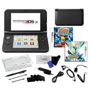 Nintendo® 3DS XL W/ Pokemon X & Naruto Ninja Destiny Games & 17 in 1 Accessory Kit Bundle, Black