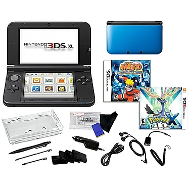 Nintendo® 3DS XL W/ Pokemon X & Naruto Ninja Destiny Games & 17 in 1 Accessory Kit Bundle, Blue