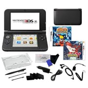 Nintendo® 3DS XL W/ Pokemon Y and Naruto Ninja Destiny Games & 17 in 1 Accessory Kit Bundle, Black