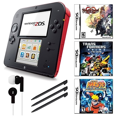 Nintendo® 2DS Bundle W/ 3 Games and Accessories, Red