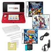 Nintendo® 3DS Kingdom Hearts & Naturo Ninja Destiny Games W/ 10 in 1 Accessory Kit, Red